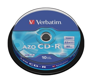 CD-R 700/80 52x spindl AZO Crystal ...