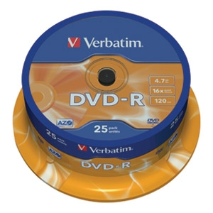 DVD-R 4,7/120 16x spindl  pk25 Verb...